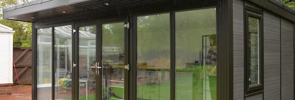 side windows graphic garden room in garden