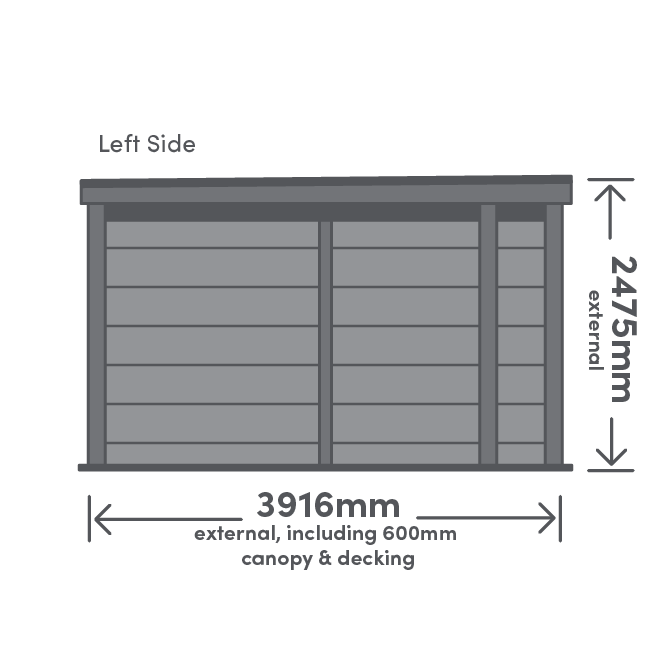 Rannoch Canopy Package Left View Illustration with measurement