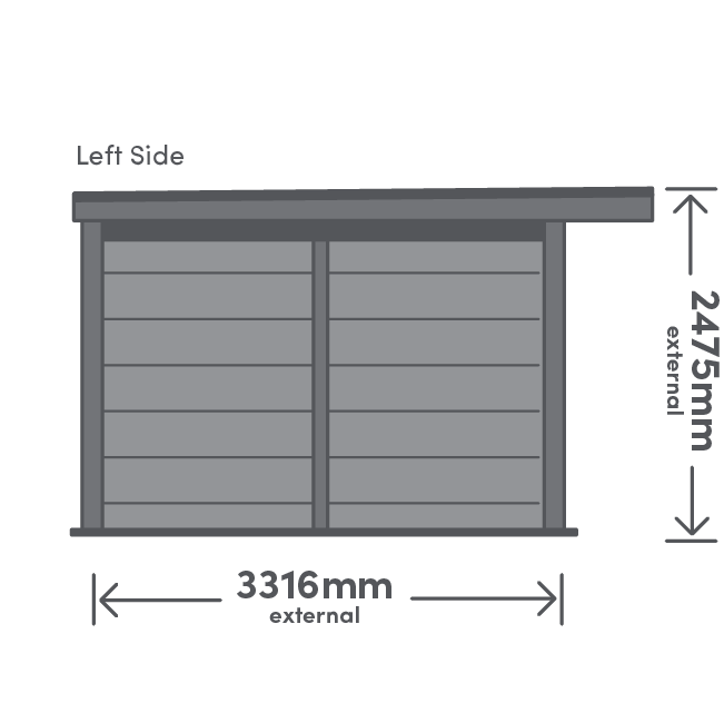 Rannoch Package Left View Illustration with measurement