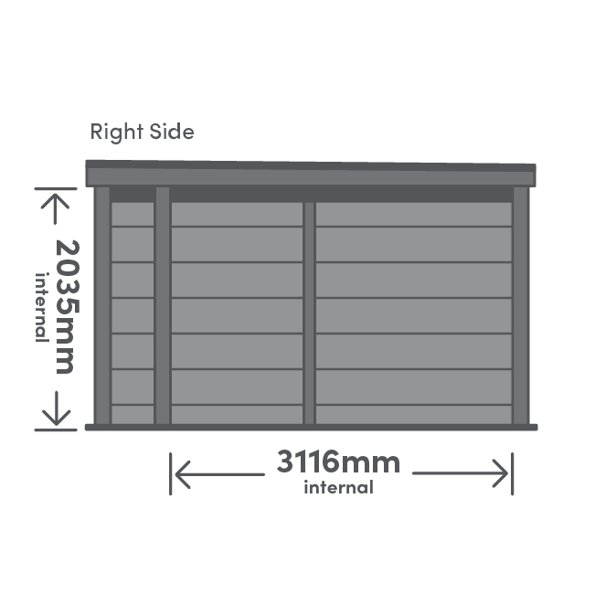 Rannoch Canopy Package Right View Illustration with measurement