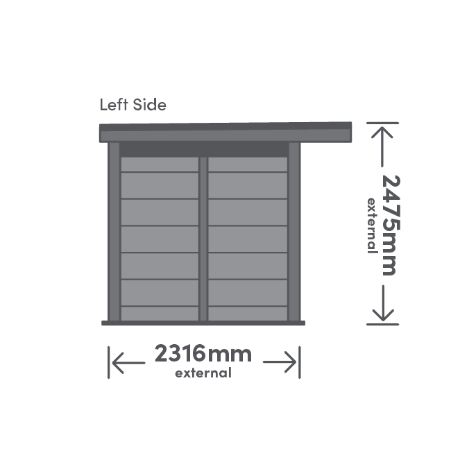 Tay Package Left View Illustration with measurement